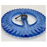 Antique Blue Glass Czech Belt Buckle