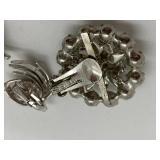 Signed Vintage Crown Trifiari Clip Earrings & Single Weiss Clip Earring