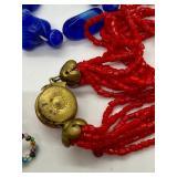 2 Glass Beaded Necklaces & 1 Glass Beaded Bracelet