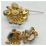 Signed Vintage Alice Caviness Brooch & Clip-on Earrings
