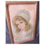 """Vintage bonnet girl print, 13""""x20"""" ..."""