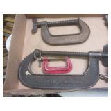 C-clamps, pair 3-way, B&C Co 8pt #2...