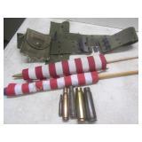 Spent ammo shells, parade flags, Ar...