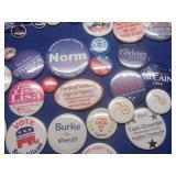 Political buttons: Kennedy, Johnson...