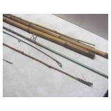 Bamboo fishing pole sections, fly r...
