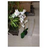 3 Artificial Plants, Large Square Vase