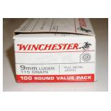 100 Winchester 9mm Luger 115 Gr FMJ Ammo