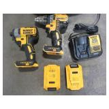 Dewalt ATOMIC 20-Volt MAX Cordless Brushless Compact 1/2 in. Drill/Driver ( HAS ISSUES) with ATOMIC 20-V Brushless Impact Driver With Batteries and Charger - DCD708C2W809 - Used.