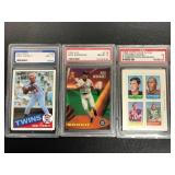 Lot of 3 graded Cards ( Kirby Puckett, Fran tarkenton, and Alec Rodriguez see photos for details )