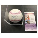 Joe Mauer Autographed Breast Cancer Awareness Baseball ( JSA Authentication )