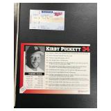 Kirby Puckett Autographed 6x9 and Ticket Stub and Program