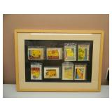 """FRAMED ORIGINAL WATER TRANSFER TRAVEL DECALS OF STATES COMPRISING ROUTE 66 - NICE UNIQUE PIECE! - APPROX 26"""" BY 19"""" - SEE PICTURES!"""