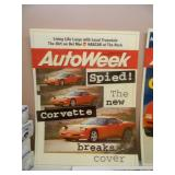 """1 PROFESSIONALLY FRAMED & 2 LAMINATED ENLARGED AUTO WEEK MAGAZINE COVERS - NICE SET! - APPROX 26"""" BY 31"""" - SEE PICTURES!"""