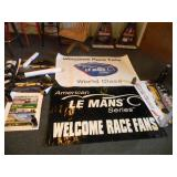 2 AMERICAN LeMANS SERIES TRACK BANNERS (1 AUTOGRAPHED BY CORVETTE DRIVERS) & MISC RACE POSTERS - SEE PICTURES!