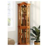 Floor Standing Oak Lighted Curio Cabinet, FSCC2000-1MK - Glass Cracked On Bottom LH Side.