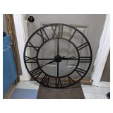 Extra Large Black Metal Roman Numeral Clock