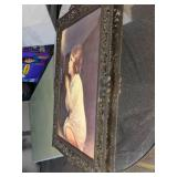 Vintage Brass Regency Ornate Picture Frame w/Convex Glass Girl Praying Made in Italy