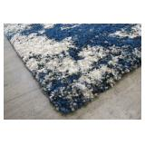 Thomasville Hudson 5ft 3in X 7ft 5in Luxury Blue White Shag Rug