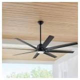 Kensgrove 72 in. LED Indoor/Outdoor Matte Black Ceiling Fan with Light and Remote Control by Home Decorators Collection Customer Returns See Pictures