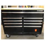 46 in. W x 24.5 in. D 9-Drawer Gloss Black Deep Tool Chest Mobile Workbench with Hardwood Top by Husky Customer Returns See Pictures