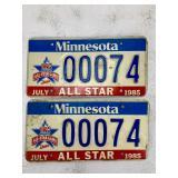 Vintage - 1985 Twins MLB All-Star Game - License Plates