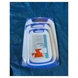 3-Piece Plastic Cutting Board with Non-Slip Feet and Deep Drip Groove Blue by Belwares