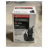 1/2 HP Submersible Sump Pump with Tether by Everbilt.