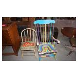 Vintage Chair and Colorful Rocking Chair