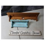 2 Shelves and Wooden Sign Décor