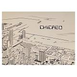 Black and Silver Metal City of Chicago Framed Art