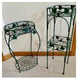 2 Green Plant Stands
