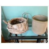 Unique Basket and a Pottery Crock