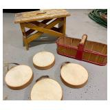 Wood, Wicker and 4 Game Tambourines!