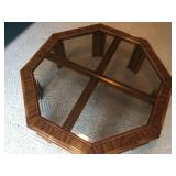 Octagon Wooden table With Glass and Brass Top