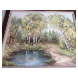 Oil On Canvas River Scene Painting By Irene Butschli With Ornate Gold Frame