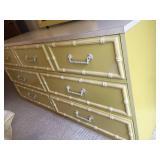 Vintage Fun Yellow Wooden Seven Drawer Dresser With Mirror