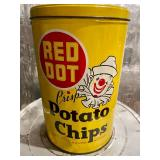 Primex and Red Dot Potato Chips Metal Cans