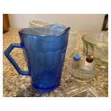 Lot of Clear Glassware and Blue Pitcher