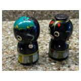 Pair Vintage Wood Black Americana Salt & Pepper Shakers