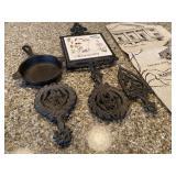Set Vintage Cast Iron Trivets & Mini Wagner Ware 1050 Cast Iron Pan & Tea Towel