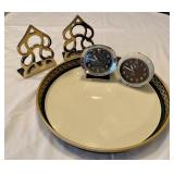 Vintage Office Lot- Brass Bookends, 2 Westclox Clocks & Tin Tray
