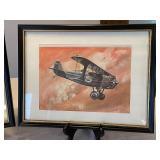 Pair Framed Vintage Airplane Prints