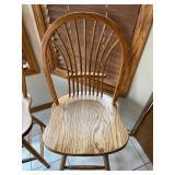 Pair Swiveling Wood Barstools