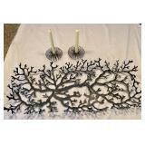 Fun Metal Tree Motif Tray & Candleholders