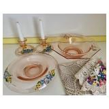 Vintage Hand Painted Pink Depression Glassware