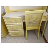 Vintage Yellow Wooden Desk With Lighted Hutch and Matching Chair