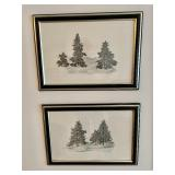 "Two ""Trees and Birds"" Framed Art Pieces"