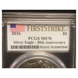 2016 Walking Liberty 1 oz Silver Coin PSGS MS70 30th Anniversary
