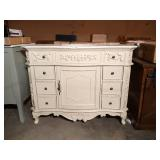 Winslow 45 in. W x 22 in. D Bath Vanity in Antique White with Vanity Top in White Marble with White Basin by Home Decorators Collection (some damage)
