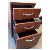 MSRP $800 High Quality HON Executive Office Mahogany Finish 3 Drawer Mobile Locking Filing Cabinet WITH KEY - Excellent Condition Missing One Wheel (Can Be Purchased Online 2 For $5.00)